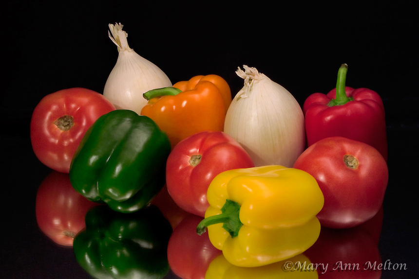 Peppers, onion, tomoto