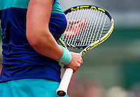France, Paris , May 26, 2015, Tennis, Roland Garros, fixing strings in a racket<br /> Photo: Tennisimages/Henk Koster
