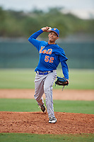 GCL Mets relief pitcher Yadiel Flores (58) delivers a pitch during a game against the GCL Cardinals on July 23, 2017 at Roger Dean Stadium Complex in Jupiter, Florida.  GCL Cardinals defeated the GCL Mets 5-3.  (Mike Janes/Four Seam Images)