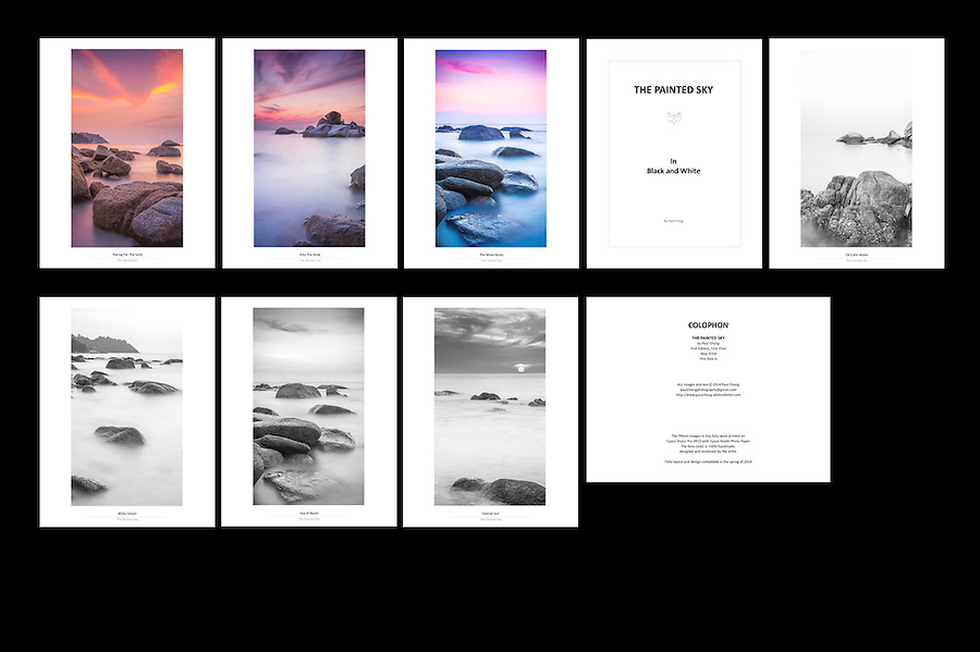 Folio Title: The Painted Sky<br /> Size: 8 x 10.5 Inch<br /> Price: 180$ <br /> Photographs: Each folio consisted of 15 photographs<br /> Creation: This folio is handmade, design and hand-signed by Paul Chong<br /> Edition: Only 5 copies of folio will be release for every new edition<br /> Shipping: Free worldwide delivery