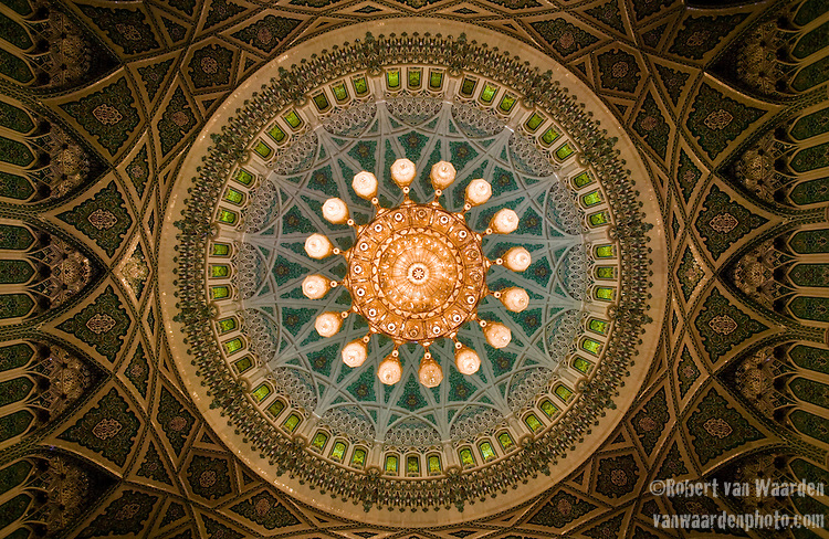 Ceiling of the As Sultan Qaboos Grand   Mosque in Muscat. Oman - National Geographic Traveler