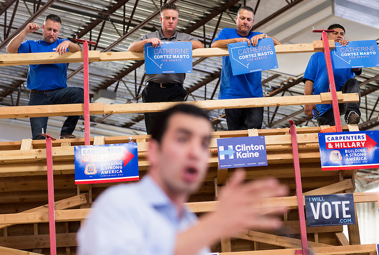 UNITED STATES - OCTOBER 22: Ruben Kihuen, Democratic candidate for Nevada's 4th Congressional district, speaks at the United Brotherhood of Carpenters early vote rally at the Carpenters Union Training Center in Las Vegas on the first day of early voting in Nevada on Saturday, Oct. 22, 2016. (Photo By Bill Clark/CQ Roll Call)