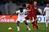 Frank Kessie of AC Milan and Nicolo Zaniolo of AS Roma during the Serie A 2018/2019 football match between AS Roma and AC Milan at stadio Olimpico, Roma, February 3, 2019 <br />  Foto Andrea Staccioli / Insidefoto