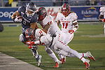 Nevada receiver Crishaun Lappin (9) is knocked out of bounds the by New Mexico defense in the second half of an NCAA college football game in Reno, Nev., Saturday, Nov. 2, 2019. (AP Photo/Tom R. Smedes)