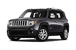 Stock pictures of low aggressive front three quarter view of a 2018 Jeep Renegade Limited 5 Door SUV