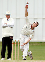 M Tucker bowls for Hornsey during the Middlesex County Cricket League Division Three game between Hornsey and Bessborough at Tivoli Road, Crouch End on Sat Aug 21, 2010.