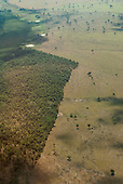 Maraba, Para State, Brazil. Aerial view deforestation, approaching the town from the south.
