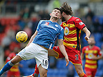St Johnstone v Partick Thistle....17.10.15  SPFL     McDiarmid Park, Perth<br /> Graham Cummins loses out to Daniel Seaborne<br /> Picture by Graeme Hart.<br /> Copyright Perthshire Picture Agency<br /> Tel: 01738 623350  Mobile: 07990 594431