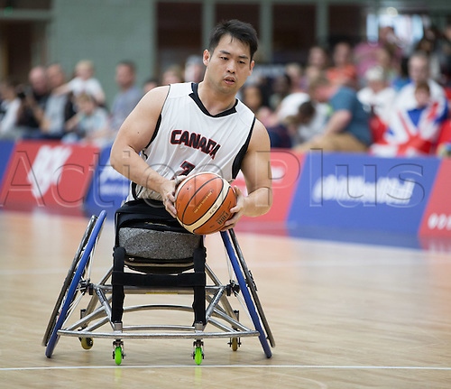 03.07.2016. Leicester Sports Arena, Leicester, England. Continental Clash Wheelchair Basketball, England versus Canada. Yoomin Won (CAN) drives towards the net during the match