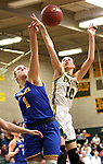 WATERBURY CT. 16 February 2018-021619SV16-#10 Alyssa Hebb of Holy Cross High puts up a shot over #1 Kolby Sirowich of Seymour High during the NVL girls basketball tournament in Waterbury Saturday.<br /> Steven Valenti Republican-American