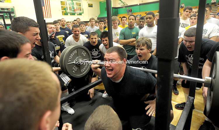 WATERBURY, CT, 03 MARCH  2012-030312JS08-Woodlad's Jeremy Clark squats 500 lbs.  during the NVL Weightlifting finals Saturday at Wilby High School in Waterbury. .Jim Shannon Republican-American