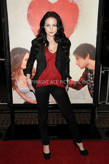 WWW.ACEPIXS.COM . . . . . ....February 1 2011, Los Angeles....Actress Elizabeth Gillies arriving at the Los Angeles Premiere of 'Waiting For Forever' at the Pacific Theatres at The Grove on February 1, 2011 in Los Angeles, CA ....Please byline: PETER WEST - ACEPIXS.COM....Ace Pictures, Inc:  ..(212) 243-8787 or (646) 679 0430..e-mail: picturedesk@acepixs.com..web: http://www.acepixs.com