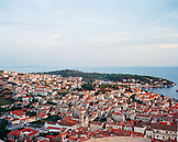 CROATIA, Hvar, Dalmatian Coast, high angle view of the town of Hvar.