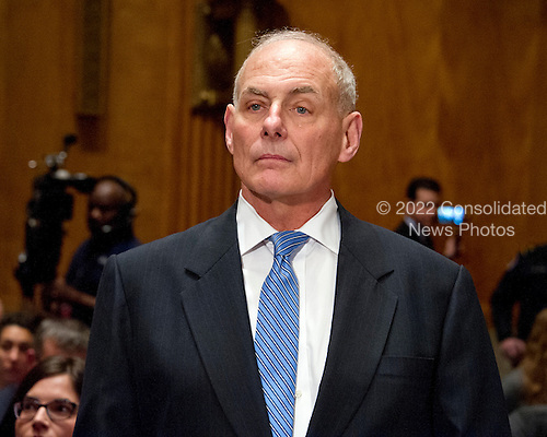 General John F. Kelly, USMC (Retired) arrives to testify before the United States Senate Committee on Homeland Security and Governmental Affairs confirmation hearing on his nomination to be Secretary, US Department of Homeland Security on Capitol Hill in Washington, DC on Tuesday, January 10, 2017.<br /> Credit: Ron Sachs / CNP