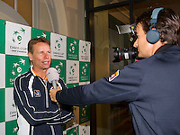 Switserland, Genève, September 17, 2015, Tennis,   Davis Cup, Switserland-Netherlands, Draw, interview with Captain Jan Siemerink<br /> Photo: Tennisimages/Henk Koster