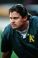Jason Giambi of the Oakland Athletics during a game against the Anaheim Angels at Angel Stadium circa 1999 in Anaheim, California. (Larry Goren/Four Seam Images)