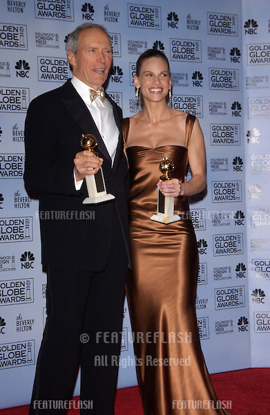 Jan 16, 2005; Los Angeles, CA: CLINT EASTWOOD & HILARY SWANK at the 62nd Annual Golden Globe Awards at the beverly Hilton Hotel..
