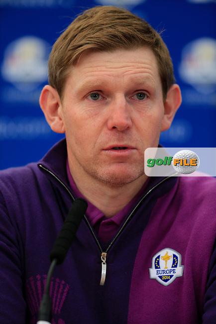 Stephen Gallacher (EUR) during there media interview ahead of practice on wednesday at the 40th Ryder Cup, The Gleneagles Hotel, Perthshire from 26th to 28th September 2014<br /> Picture Fran Caffrey, www.golffile.ie