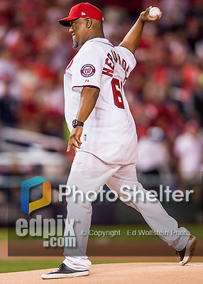 13 October 2016: Former Washington Nationals pitcher Livan Hernandez throws out the ceremonial first pitch to start Game 5 of the NLDS against the Los Angeles Dodgers at Nationals Park in Washington, DC. The Dodgers edged out the Nationals 4-3, to take Game 5 of the Series, 3 games to 2, and move on to the National League Championship Series against the Chicago Cubs. Mandatory Credit: Ed Wolfstein Photo *** RAW (NEF) Image File Available ***