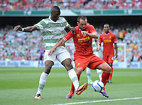 10th August 2013; Jose Enrique, Liverpool, in action against Amido Balde, Glasgow Celtic. Pre-season Friendly, Liverpool v Celtic, Dublin Decider, Aviva Stadium, Dublin. Picture credit: Tommy Grealy/actionshots.ie.
