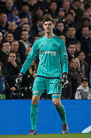 Goalkeeper Thibaut Courtois of Chelsea during the UEFA Champions League Round of 16 2nd leg match between Chelsea and PSG at Stamford Bridge, London, England on 9 March 2016. Photo by Andy Rowland.