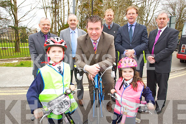 Pictured at the announcement for 1.3M active travel funding from the department of Transport, Tourism and Sport From Left: Michael Scannell, Town Clerk, Sean Corkery, Michael McMahon, Town Manager, Minister Alan Kelly, Gerry O'Riordan, Town Engineer, Sadhbh Corkery, Arthur Spring, TD, and Charlie O'Sullivan, Director of Roads.