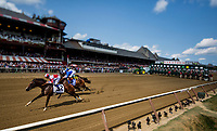 SARATOGA SPRINGS, NY - AUGUST 26: Forever Unbridled #4, ridden by Joel Rosario overtakes Songbird #2, ridden by Mike Smith in the final strides to win the Personal Ensign Stakes at Saratoga Race Course on August 26, 2017 in Saratoga Springs, New York.(Photo by Alex Evers/Eclipse Sportswire/Getty Images)
