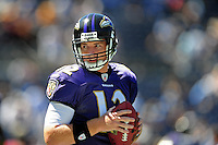 Sep. 20, 2009; San Diego, CA, USA; Baltimore Ravens quarterback (12) John Beck against the San Diego Chargers at Qualcomm Stadium in San Diego. Baltimore defeated San Diego 31-26. Mandatory Credit: Mark J. Rebilas-