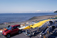 Kayaks on Beach at Semiahoo Bay / Pacific Ocean, White Rock, BC, British Columbia, Canada
