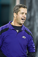 October 24, 2011:  Baltimore Ravens head coach John Harbaugh on the field prior to the start of action between the Jacksonville Jaguars and the Baltimore Ravens played at EverBank Field in Jacksonville, Florida.  ........