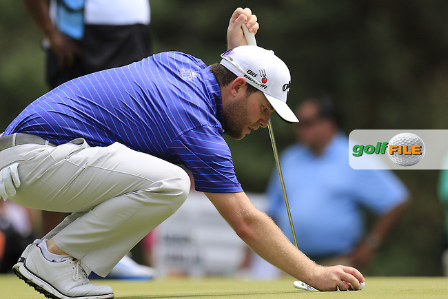 Branden GRACE (RSA) lines up his ball on the 2nd green during Sunday's Final Round of the 2015 Bridgestone Invitational World Golf Championship held at the Firestone Country Club, Akron, Ohio, United States of America. 9/08/2015.<br /> Picture Eoin Clarke, www.golffile.ie