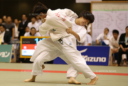(L-R)<br /> Christa Deguchi,<br /> Momo Tamaoki,<br /> September 13, 2014 - Judo : <br /> All Japan Juior Judo Championships <br /> Women's -57kg Final <br /> at Saitama Kenritsu Budokan, Saitama, Japan. <br /> (Photo by Shingo Ito/AFLO SPORT) [1195]