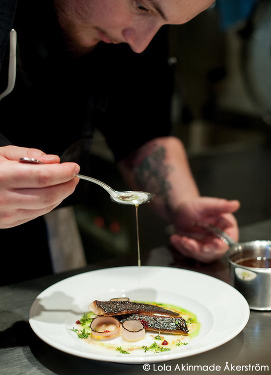 Chef plating a dish of pan-seared fish.