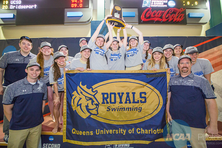 BIRMINGHAM, AL - MARCH 11: The Queens University Women's swimming and diving team celebrate after taking first place with 467 points during the Division II Men's and Women's Swimming & Diving Championship held at the Birmingham CrossPlex on March 11, 2017 in Birmingham, Alabama. (Photo by Matt Marriott/NCAA Photos via Getty Images)