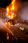 Foguera monument at City hall burning at san Joan night, Hogueras de San Juan, Fogueres de Sant Joan festival. Alicante City, Costa Blanca, Spain, Europe.