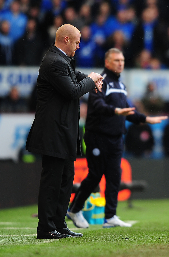 Burnley manager Sean Dyche checks his watch<br /> <br /> Photographer Chris Vaughan/CameraSport<br /> <br /> Football - Barclays Premiership - Burnley v Leicester City - Saturday 25th April 2015 - Turf Moor - Burnley<br /> <br /> &copy; CameraSport - 43 Linden Ave. Countesthorpe. Leicester. England. LE8 5PG - Tel: +44 (0) 116 277 4147 - admin@camerasport.com - www.camerasport.com