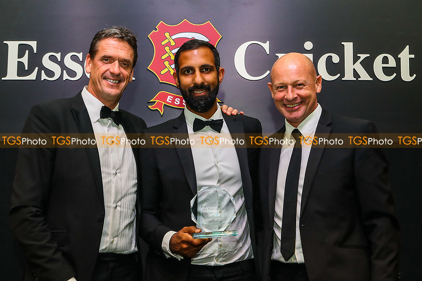 Varun Chopra of Essex receives the Eagles Player Of The Year Award during the Essex CCC Awards at The Cloudfm County Ground on 3rd October 2018