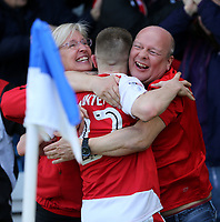 Fleetwood Town's Ashley Hunter celebrates scoring his sides first goal with the Fleetwood fans<br /> <br /> Photographer Rob Newell/CameraSport<br /> <br /> The EFL Sky Bet League One - Gillingham v Fleetwood Town - Saturday 22nd April 2017 - MEMS Priestfield Stadium - Gillingham<br /> <br /> World Copyright v&Ccedil;&not;&copy; 2017 CameraSport. All rights reserved. 43 Linden Ave. Countesthorpe. Leicester. England. LE8 5PG - Tel: +44 (0) 116 277 4147 - admin@camerasport.com - www.camerasport.com