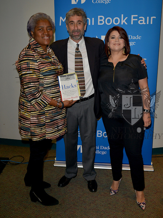 MIAMI, FL - NOVEMBER 15: Donna Brazile, Mitchell Kaplan and Ana Navaro attend The Miami Book Fair at Miami Dade College Wolfson - Chapman Conference Center on November 15, 2017 in Miami, Florida.  ( Photo by Johnny Louis / jlnphotography.com )
