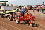 "Chris Borowitz trying pulling a sled in a tractor pull with an Allis Chalmers ""Grasshopper"" tractor during the annual EDGE & TA chapter 132 tractor show and pull in Bill Ramsus in the Carson Valley."