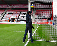 A technician tests the goal line tehnology  during AFC Bournemouth vs Arsenal, Premier League Football at the Vitality Stadium on 14th January 2018