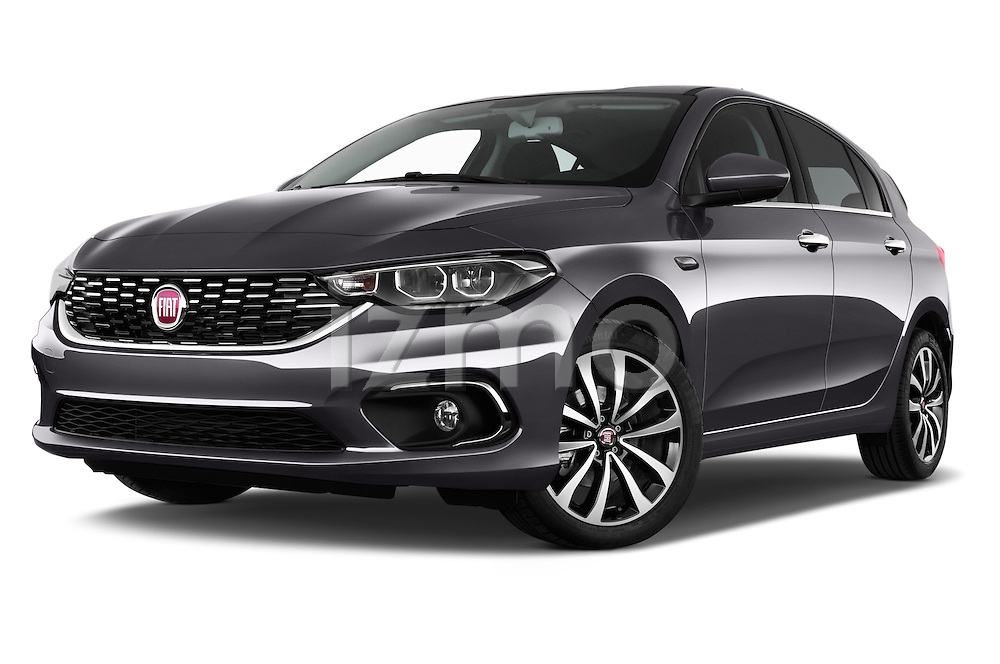 Stock pictures of low aggressive front three quarter view of 2016 Fiat Tipo Lounge 5 Door Hatchback Low Aggressive