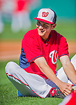 22 August 2015: Washington Nationals infielder Trea Turner smiles during stretching exercises prior to a game against the Milwaukee Brewers at Nationals Park in Washington, DC. The Nationals defeated the Brewers 6-1 in the second game of their 3-game weekend series. Mandatory Credit: Ed Wolfstein Photo *** RAW (NEF) Image File Available ***