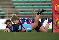 Kia Toa's Maggie Leota scores in the tackle of Lauren Balsillie during the 2019 Manawatu premier women's club rugby Prue Christie Cup final match between Feilding Old Boys Oroua and Kia Toa at CET Arena in Palmerston North, New Zealand on Saturday, 13 July 2019. Photo: Dave Lintott / lintottphoto.co.nz