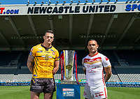 Picture by Allan McKenzie/SWpix.com - 14/05/2018 - Rugby League - Dacia Magic Weekend 2018 Preview - St James Park, Newcastle, England - Salford's Luke Burgess with Catalans' Paul Aiton.