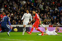 Real Madrid´s Iker Casillas and Sevilla's Aleix Vidal during 2014-15 La Liga match between Real Madrid and Sevilla at Santiago Bernabeu stadium in Alcorcon, Madrid, Spain. February 04, 2015. (ALTERPHOTOS/Luis Fernandez) /NORTEphoto.com