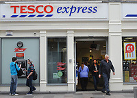 Tesco Express supermarket in Cardiff, UK. Tesco is the UK's largest super-market and the second-largest retailer in the world measured by profits (after Wal-Mart).    27-Sept-2013.