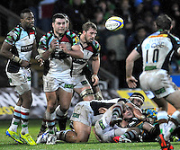 Northampton, England. Nick Easter of Harlequins clears the ball during the Aviva Premiership match between Northampton Saints and Harlequins at Franklin's Gardens on December 22. 2012 in Northampton, England.