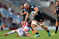 Matt Kvesic of Exeter Chiefs takes on the Leicester Tigers defence. Gallagher Premiership match, between Exeter Chiefs and Leicester Tigers on September 1, 2018 at Sandy Park in Exeter, England. Photo by: Patrick Khachfe / JMP