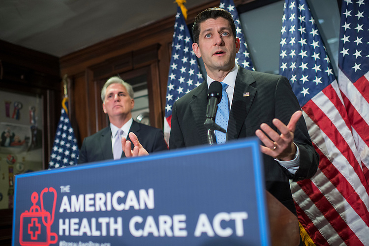UNITED STATES - MARCH 8: Speaker of the House Paul Ryan, R-Wis., and House Majority Leader Kevin McCarthy, R-Calif., conduct a news conference at the RNC where they discussed the House Republican's new healthcare plan to repeal and replace the Affordable Care Act, March 8, 2017. (Photo By Tom Williams/CQ Roll Call)